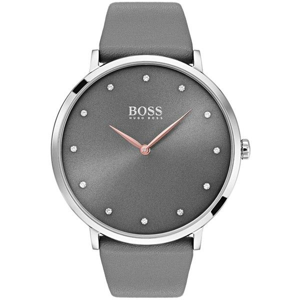 Hugo Boss Black Jillian Grey Dial Grey Leather Strap Ladies Watch ($210) ❤ liked on Polyvore featuring jewelry, watches, cocktail jewelry, buckle jewelry, special occasion jewelry, rose jewelry and evening jewelry