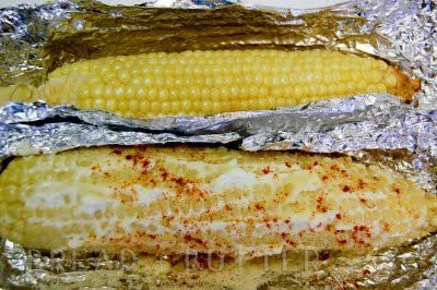 Baked corn on the cob, I just tried this tonight and I don't think I will ever make corn on the cob on the stovetop again! It came so tender and yummy, and you can use the foil as a plate if you're a messy eater like me.