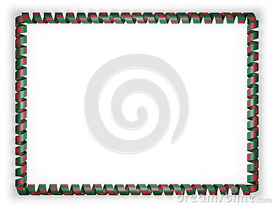 Frame and border of ribbon with the Bangladesh flag. 3d illustration.