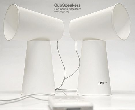 CupSpeakers  (4 paper cups, toothpicks to hold the cups together and iPod earbuds) - I wonder if this works.