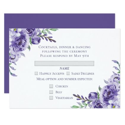 Purple Floral Watercolor Wedding RSVP Entree Card - spring wedding diy marriage customize personalize couple idea individuel