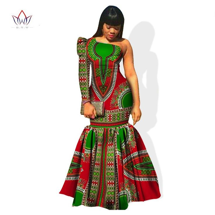 African Dresses for Women One-Shoulder Sleeve Mermaid Long Sleeve Maxi Dress Plus Size