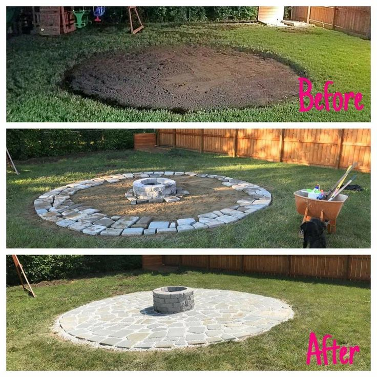 """Fire pit patio: 3"""" sod cut 18' diameter. 2 ton 1"""" stone tamped. 2 ton mason sand tamped.   50 landscaping bricks for fire pit, Steel drum pit liner.  1 pallet flagstone. 22 bags white pea gravel."""