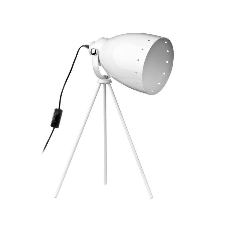 Tripod Table Lamp, White Metal