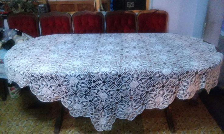 Mantel blanco forma hexagonal
