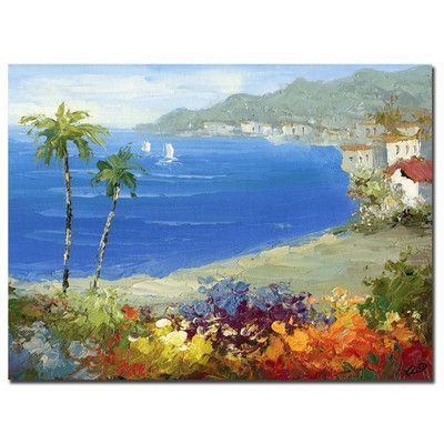 """Trademark Art """"Mediterranean Beach"""" by Rio Framed Painting Print on Wrapped Canvas Size: 35"""" H x 47"""" W x 2"""" D"""