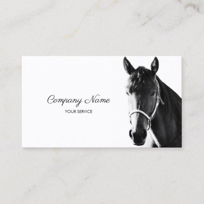 Elegant Horse Head Black White Business Card Zazzle Com Elegant Horse White Business Card Horse Head