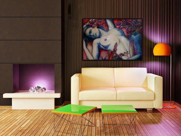 Levandulová+Moderní+obraz+ve+fialkových+tónech,+stříbřeno.+100x70+cm.+komb.+technika.+Signováno,+certifikát.