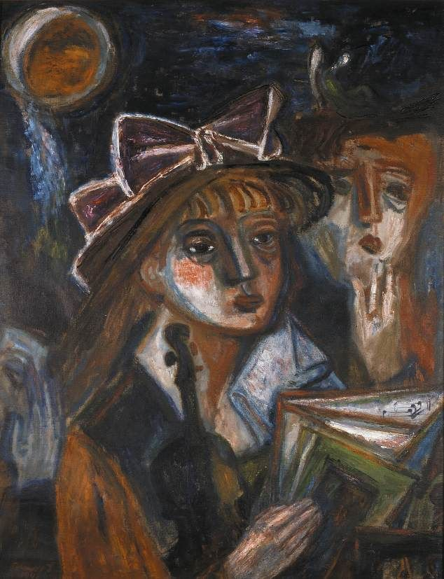 1942 MUSIC, Imre Ámos (1907~1944/45)   He was elected to be a member of the New Society of Artists, and spent his summers in Szentendre and worked there. He visited Paris in 1937 where he met Chagall. Ámos became a member of the National Salon in 1938. In 1940 he was taken to labour camp in Vojvodina, then to the battle field in the east, and in 1944 he was deported to Germany, where he died, probably in a concentration camp in Saxony...