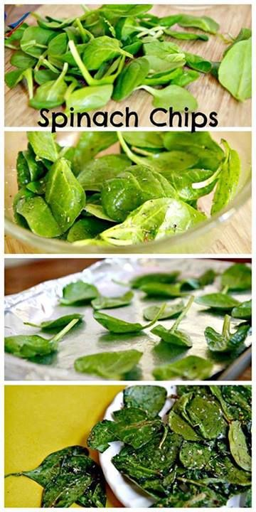 Spinach Chips:  2 c. Spinach    1 T. Extra virgin olive oil    Italian seasoning/ Salt          1. Preheat oven to 325 F.    2. Line sheet w/ foil.    3. mix spinach and olive oil gently.    4. Sprinkle salt and seasonings, mix 'til coated.   5. arrange leaves in single layer without overlaps.    6. Bake 8 min. Remove from oven and let sit on sheet for another 2 min.    7. Using spatula, transfer to bowl or plate.    8. serve chips with a nice dip.