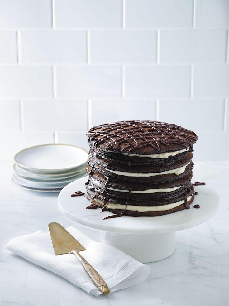 Black and White Pancake Cake