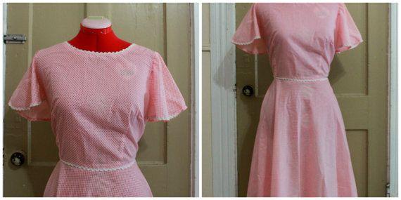50er Jahre rosa Seersucker Kleid Größe XL von DressedInTheDark