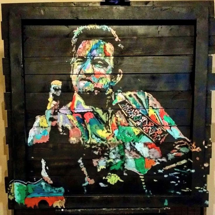 Johnny Cash Wood Art Painting by Matt Pecson