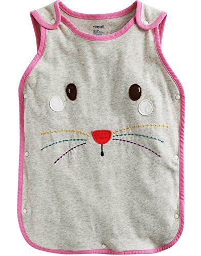 Vaenait Baby Kids Girls DoubleLayered Cotton Wearable Blanket Sleeper Pink Beaver L