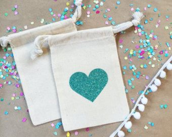 Glitter Heart Bag Hangover Kit Bachelorette Party Favor Wedding