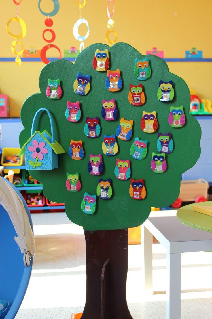 Uiltjes voor de 'aanwezigheidsboom' in het klasje.