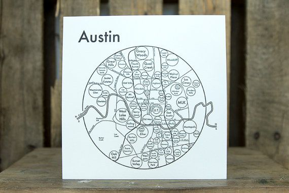 Minimalist Austin Map Letterpressed  Simple  Clear by archiespress, $22.00