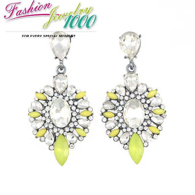Новый милый бренд винтаж желтый цветок кристалл коренастый себе мотаться вечернее платье ювелирные изделия для женщин бесплатная доставка