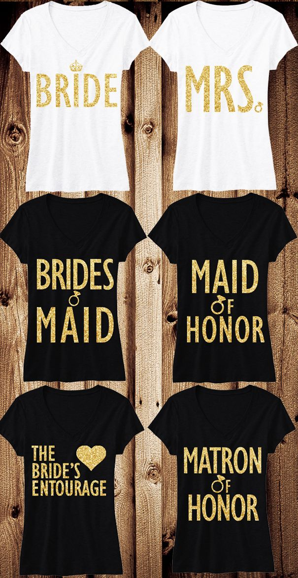 Gold Glitter Wedding Shirts! So cute for the Wedding Rehearsal, Bachelorette Party and for gifts! Mix and Match to fit your Bridal Party. Click here to buy http://nobullwoman-apparel.com/collections/bridal-shirt-packages/products/bride-gold-wedding-7-shirts-15-off-bundle-bride-shirt-bridesmaid-shirt-maid-of-honor-shirt