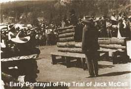 Picture of the trial of Jack McCall, the murderer of Wild Bill Hickock.