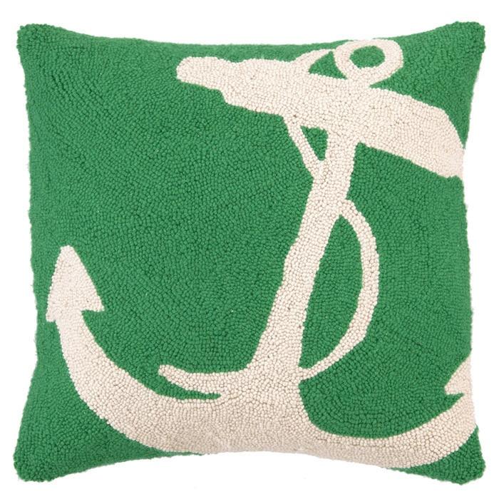 Bold green anchor pillow