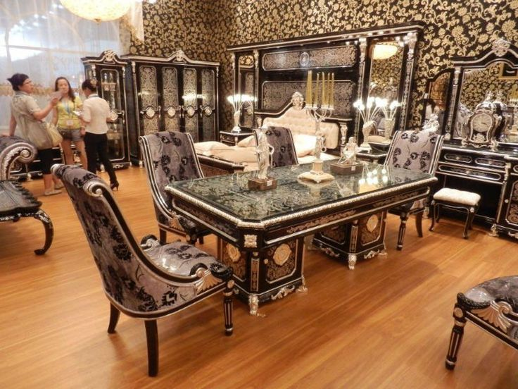 New Item Luxury Black Silver Plated Colour European Style Dining Room Furniture Set