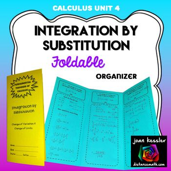 Calculus Integration - Fundamental Theorem of Calculus Change of Variable and Change of LimitsThis innovative new tri-fold organizer reinforces a very difficult topic, integration by substitution using change of variables and change of limits. Students are given two step by step examples to use as a guideline as they solve two more examples on their own.