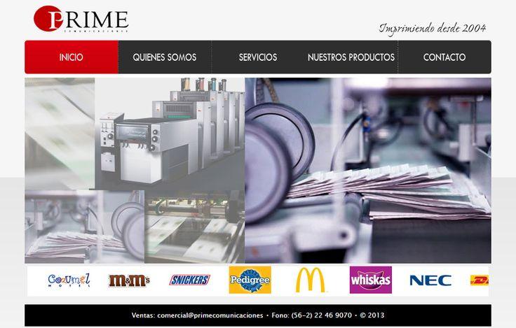 Sitio web (año 2013) desarrollado para Prime Comunicaciones
