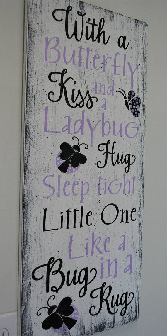 With A Butterfly Kiss And A Lady Bug Hug Wood Sign Girls Nursery Wall Decor Lavender Nursery Decor Shabby Chic Nursery Baby Shower Gift – Mariah Mosher