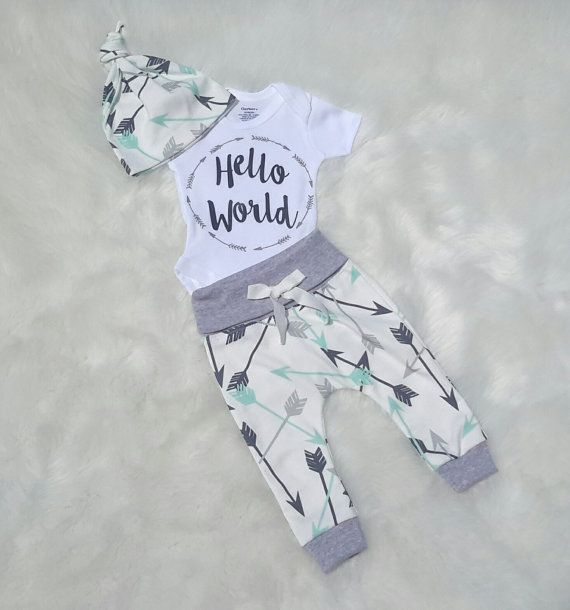 Baby Boy kommenden home-Outfit/Hallo Welt von bibitibobitiboutique