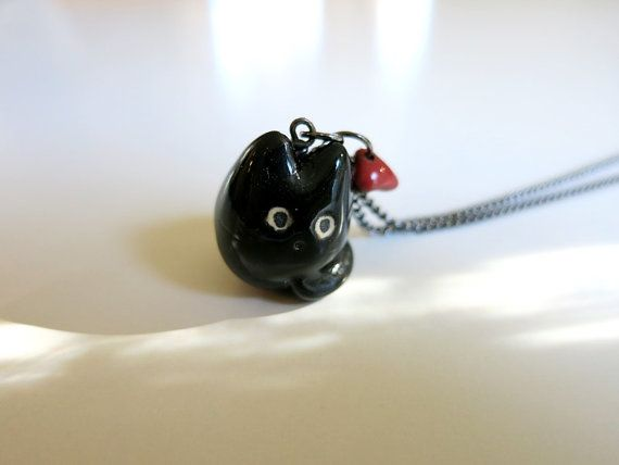 Black Cat Necklace Cat Valentine Gift Ceramic Charm by ChikoCraft
