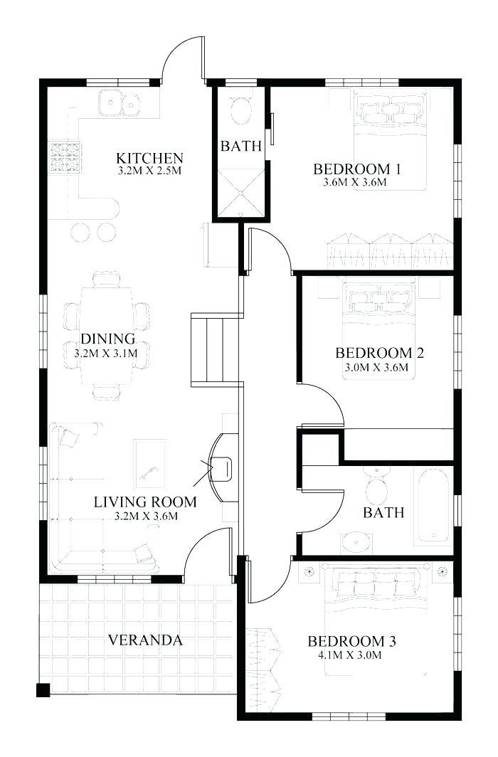 3 Bedroom Bungalow Floor Plans Bodylinegraphics Open Concept House Plans Small House Floor Plans Home Design Floor Plans