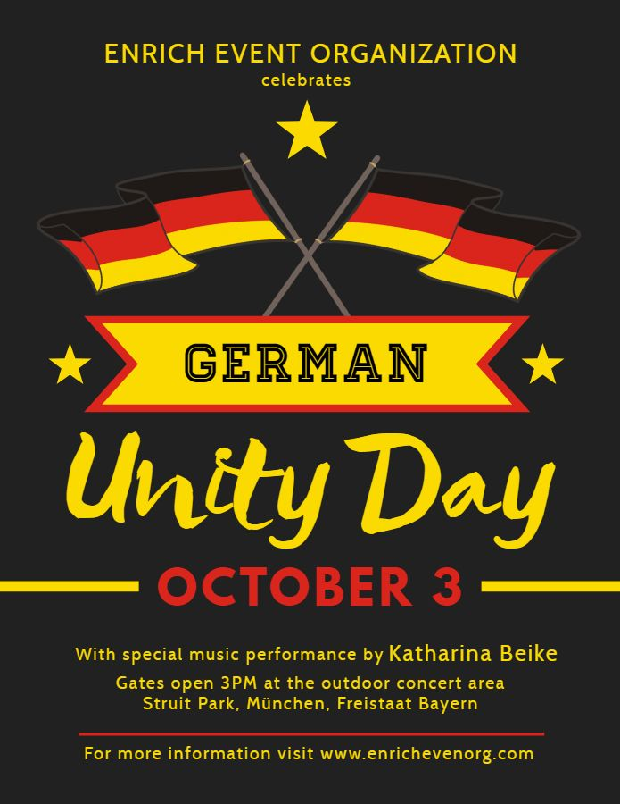 Unity Template | Creative German Day Of Unity Flyer Poster Design Template German