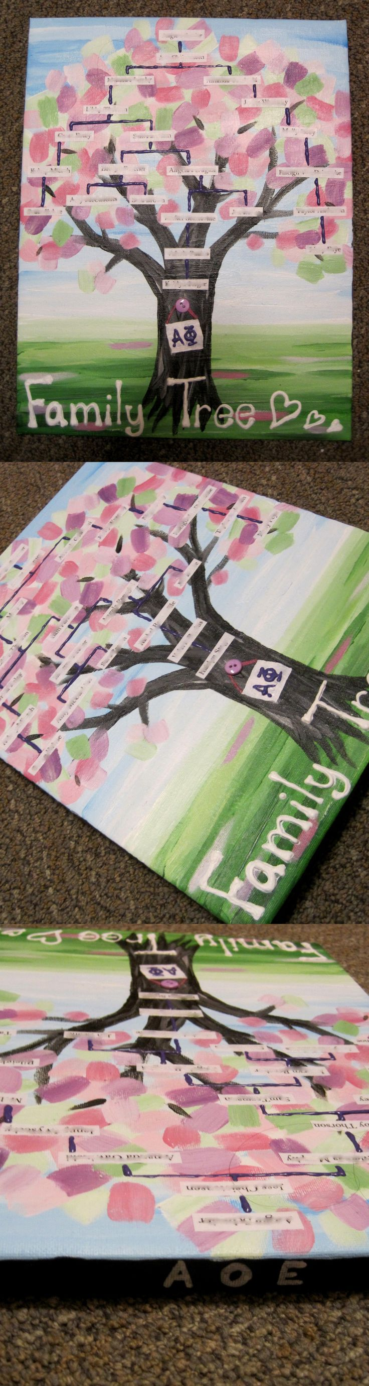 painted family tree! super cute idea! #sorority #crafts  #familytree