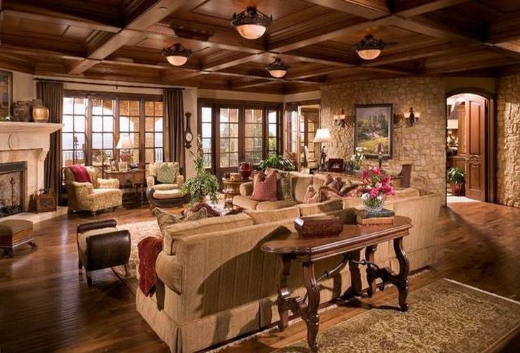 Home Design and Decor , Rustic Italian Decor Ideas : Rustic Italian Decor Living Roomn With Sectional Sofa And Wooden Console Table And Coffered Ceiling And Semi Flush Mount Ceiling Lamps And Stone Walls