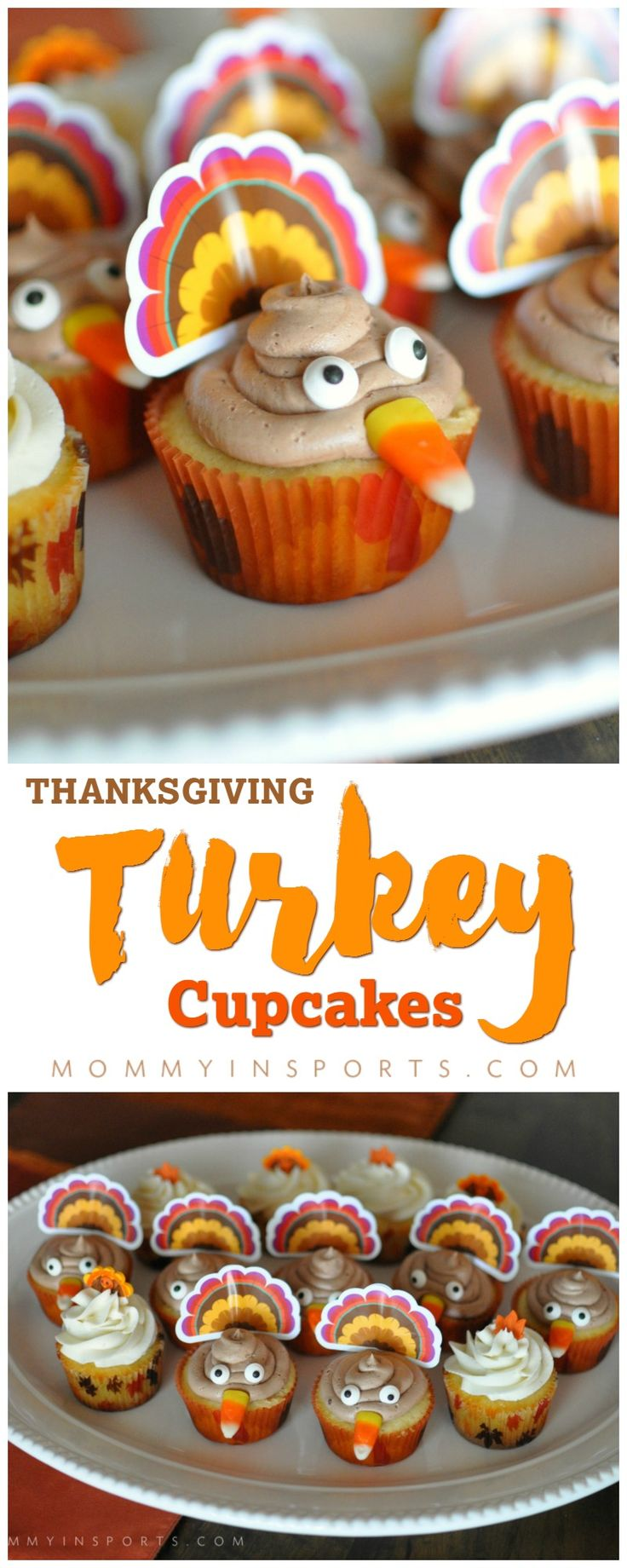 While the rest of the country devours silky pumpkin pies or other traditional holiday desserts, I'm always looking for something fun on Thanksgiving. I make cupcakes all the time for Halloween, New Year's Eve, or