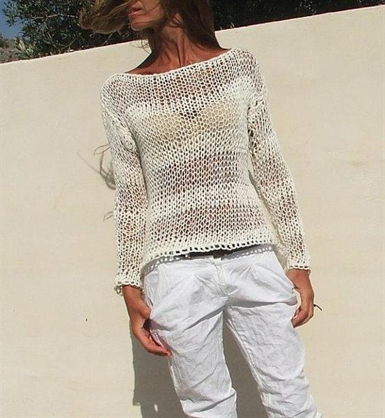 Схема вязания спицами оригинального свитера