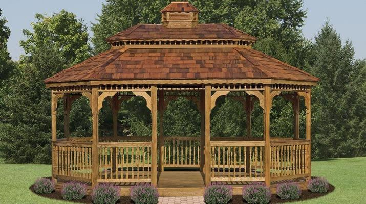 I Am Particularly Liking This Shape And Setup Good Inspiration If You Re Looking To Find Ideas For Screenedgazebos Holz Pavillon Pavillon Ideen Gartenlaube