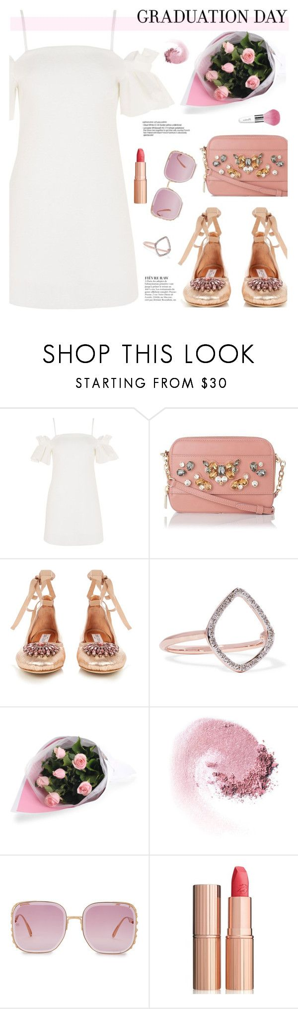 """Congrats, Grad: Graduation Day Style"" by joliedy ❤ liked on Polyvore featuring Topshop, L.K.Bennett, Jimmy Choo, Monica Vinader, NARS Cosmetics, Anja, Elie Saab, Guerlain and Charlotte Tilbury"