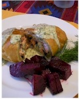 Salmon Served in Puff Pastry w/ Dill Sauce