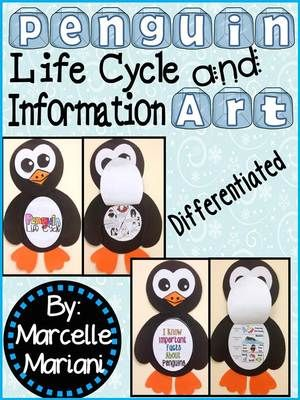 Penguins- Art Activity- Life Cycle of a Penguin+ Information Art-Differentiated from KinderPrep from KinderPrep on TeachersNotebook.com (14 pages)  - This pack offers differentiated penguin art activities for kindergarten to grade 2 students.  This art includes a penguin life cycle as well as penguin information art.