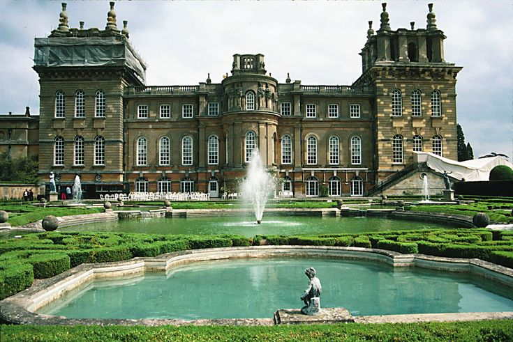 Rear of Blenheim Palace, a country house in Woodstock, Oxfordshire, England for the Dukes of Marlborough