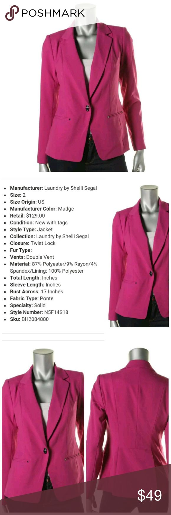 Laundry by Shelli Segal Plum Blazer NWT 2 Closet must have! Plum blazer jacket from Laundry by Shelli Segal in size 2. New with tags. Specific measurements in photo 2. Laundry by Shelli Segal Jackets & Coats Blazers