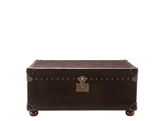 This Gregg leather coffee table and storage trunk approaches transitional furniture with a fresh eye. Ensuring success in almost any decorating scheme, its unique styling pairs the convenience of a coffee table and trunk storage with timeless design elements, like luxe bonded leather and elegant nailhead trim. #myrfstyle and #sweepstakes