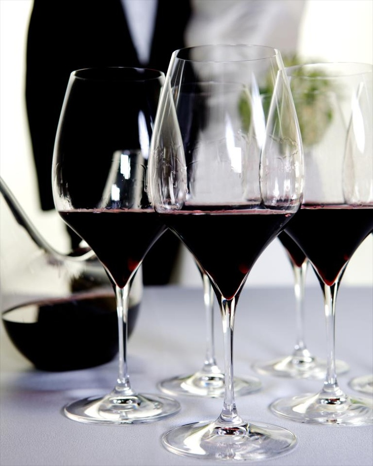 Riedel Vitis Cabernet glasses.   The Vitis range - Riedel's highest machine-made lead crystal glass is the pinnacle of modern stemmed-glass technology featuring highly sophisticated grape variety specific bowls on a pulled stem. The name Vitis = Latin = vine.