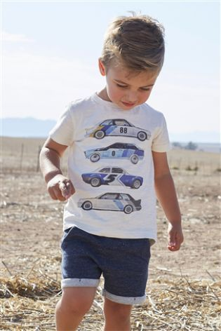 Ecru/Blue Short Sleeve Car T-Shirt And Shorts Set (3mths-6yrs)