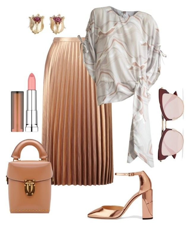 """""""Lamé & Neutrals"""" by constantinerenakossy on Polyvore featuring Miss Selfridge, Le Specs, Jimmy Choo, Vintage, Maybelline and Constantine/Renakossy"""