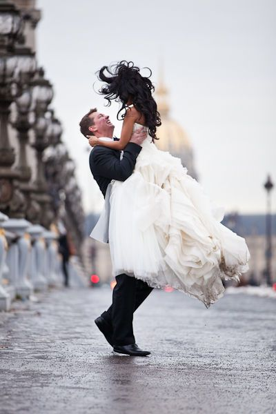 Paris wedding --- love her dress and this photograph is priceless!!  I adore emotion in photographs