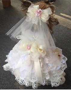 SHABBY IVORY LACE XS DOG WEDDING DRESS VEIL RING PILLOW DOG HARNESS DRESS  Pink
