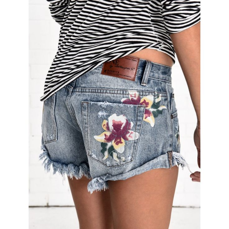 One Teaspoon 'Orchid Embroidered Bandits Denim' Shorts | Shop Splash